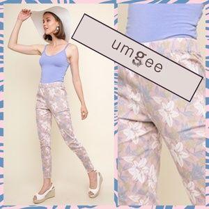 Umgee Floral Print High Waist Skinny Pant/Jeans